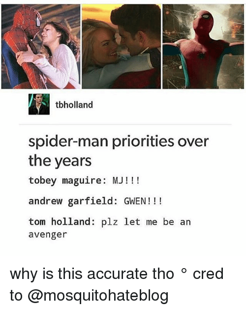 Tobey Maguire: tbholland  spider-man priorities over  the years  tobey maguire: MJ!!  andrew garfield: GWEN!!!  tom holland: plz let me be an  avenger why is this accurate tho ° 《cred to @mosquitohateblog 》