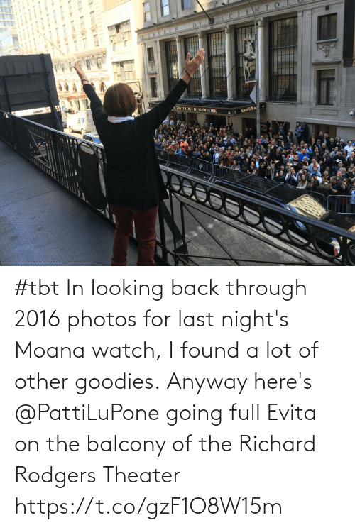 A Lot Of: #tbt In looking back through 2016 photos for last night's Moana watch, I found a lot of other goodies. Anyway here's @PattiLuPone going full Evita on the balcony of the Richard Rodgers Theater https://t.co/gzF1O8W15m