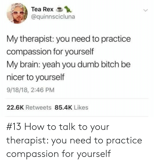You Dumb Bitch: Tea Rex  @quinnscicluna  My therapist: you need to practice  compassion for yourself  My brain: yeah you dumb bitch be  nicer to yourself  9/18/18, 2:46 PM  22.6K Retweets 85.4K Likes #13 How to talk to your therapist: you need to practice compassion for yourself