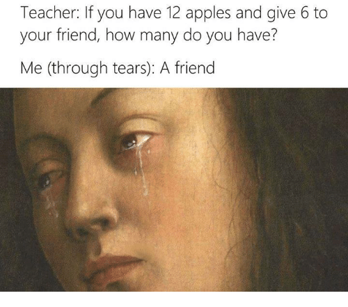 Appl: Teacher: If you have 12 apples and give 6 to  your friend, how many do you have?  Me (through tears): A friend