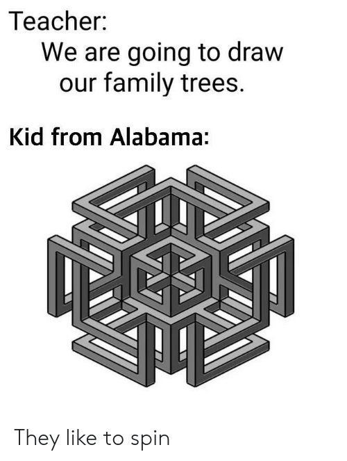 Family, Teacher, and Alabama: Teacher:  We are going to draw  our family trees.  Kid from Alabama: They like to spin