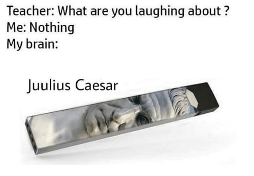 Memes, Teacher, and Brain: Teacher: What are you laughing about?  Me: Nothing  My brain:  Juulius Caesar