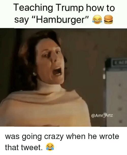 "How To Say: Teaching Trump how to  say ""Hamburger""  @Amr Artz was going crazy when he wrote that tweet. 😂"
