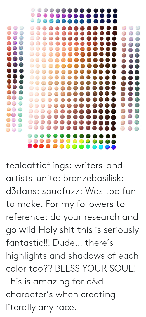 dude: tealeaftieflings: writers-and-artists-unite:  bronzebasilisk:  d3dans:  spudfuzz:  Was too fun to make.  For my followers to reference: do your research and go wild  Holy shit this is seriously fantastic!!!  Dude… there's highlights and shadows of each color too?? BLESS YOUR SOUL!   This is amazing for d&d character's when creating literally any race.