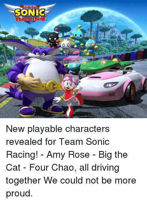 Dank, Driving, and Rose: TEAM  SONIC  RACING New playable characters revealed for Team Sonic Racing!   - Amy Rose  - Big the Cat  - Four Chao, all driving together   We could not be more proud.