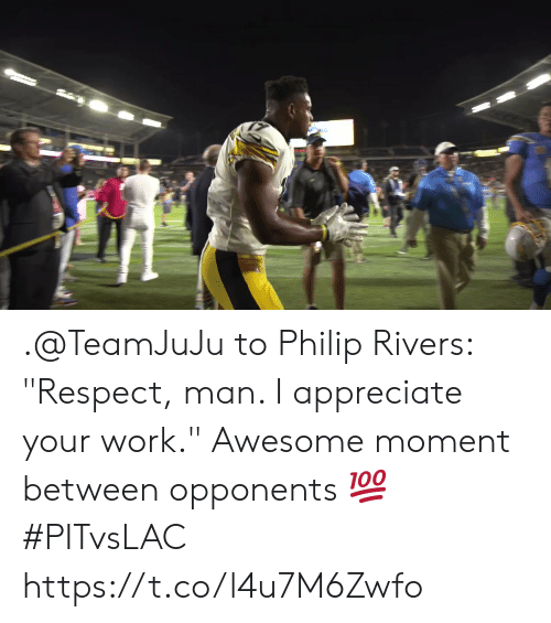 "Memes, Respect, and Work: .@TeamJuJu to Philip Rivers: ""Respect, man. I appreciate your work.""  Awesome moment between opponents 💯 #PITvsLAC https://t.co/l4u7M6Zwfo"