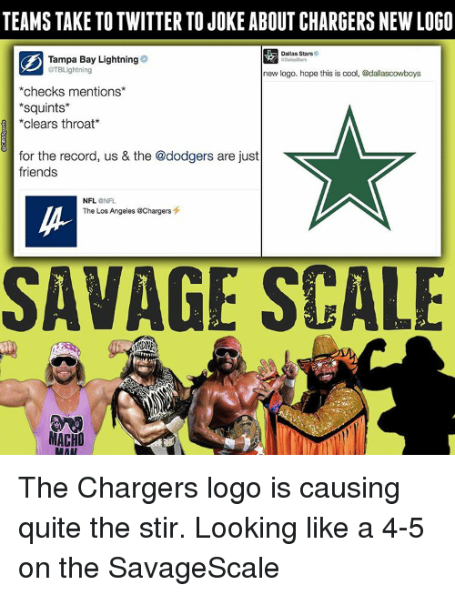 Squinting: TEAMS TAKE TO TWITTER TOJOKE ABOUT CHARGERS NEW LOGO  Dallas Stars  Tampa Bay Lightning  aTBLightning  new logo. hope this is cool, @dallascowboys  checks mentions  Squints  clears throat  for the record, us & the @dodgers are just  friends  NFL.  NFL  The Los Angeles @Chargers  SAVAGE SCALE  MACHO  RAAT The Chargers logo is causing quite the stir. Looking like a 4-5 on the SavageScale