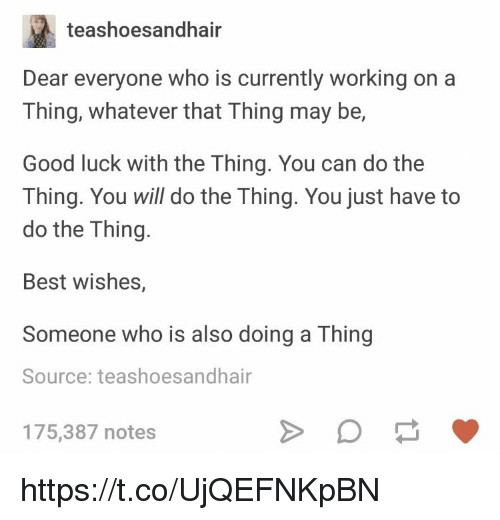 Memes, Best, and Good: teashoesandhair  Dear everyone who is currently working on a  Thing, whatever that Thing may be,  Good luck with the Thing. You can do the  Thing. You will do the Thing. You just have to  do the Thing.  Best wishes,  Someone who is also doing a Thing  Source: teashoesandhair  175,387 notes https://t.co/UjQEFNKpBN