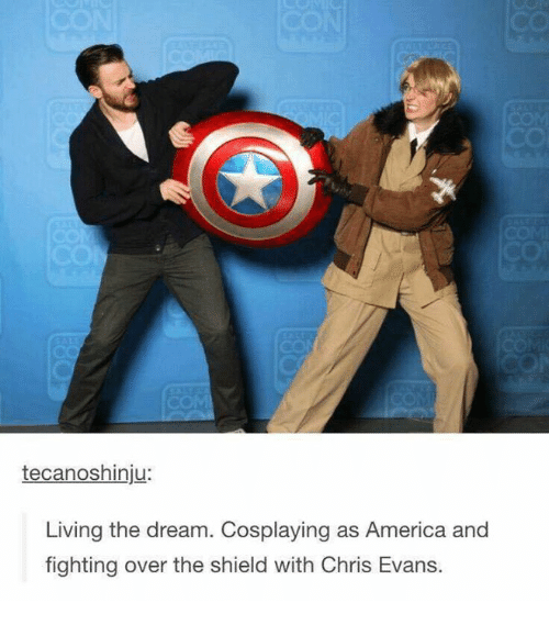 America, Chris Evans, and Humans of Tumblr: tecanoshinju:  Living the dream. Cosplaying as America and  fighting over the shield with Chris Evans.