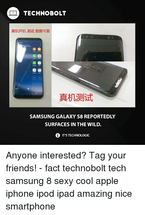 Appl: TECHNOBOLT  真机开机测试数据可靠  圖圖  真机测试  SAMSUNG GALAXY S8 REPORTEDLY  SURFACES IN THE WILD.  0 IT'S TECHNOLOGIC Anyone interested? Tag your friends! - fact technobolt tech samsung 8 sexy cool apple iphone ipod ipad amazing nice smartphone