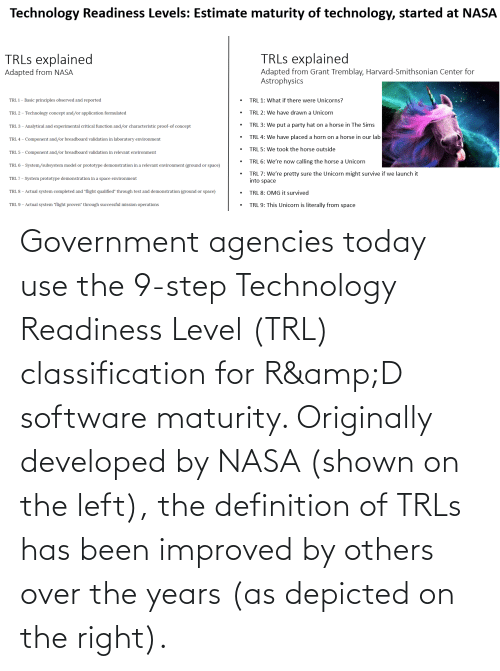 "Reported: Technology Readiness Levels: Estimate maturity of technology, started at NASA  TRLS explained  TRLS explained  Adapted from Grant Tremblay, Harvard-Smithsonian Center for  Astrophysics  Adapted from NASA  TRL 1: What if there were Unicorns?  TRL 1 – Basic principles observed and reported  TRL 2: We have drawn a Unicorn  TRL 2 – Technology concept and/or application formulated  TRL 3: We put a party hat on a horse in The Sims  TRL 3 - Analytical and experimental critical function and/or characteristic proof-of concept  TRL 4: We have placed a horn on a horse in our lab  TRL 4 - Component and/or breadboard validation in laboratory environment  TRL 5: We took the horse outside  TRL 5 -  breadboard validation in relevant environment  mponent  TRL 6: We're now calling the horse a Unicorn  TRL 6 - System/subsystem model or prototype demonstration in a relevant environment (ground or space)  TRL 7: We're pretty sure the Unicorn might survive if we launch it  into space  TRL 7 - System prototype demonstration in a space environment  TRL 8 - Actual system completed and ""flight qualified"" through test and demonstration (ground or space)  TRL 8: OMG it survived  TRL 9: This Unicorn is literally from space  TRL 9 – Actual system ""flight proven"" through successful mission operations Government agencies today use the 9-step Technology Readiness Level (TRL) classification for R&D software maturity. Originally developed by NASA (shown on the left), the definition of TRLs has been improved by others over the years (as depicted on the right)."