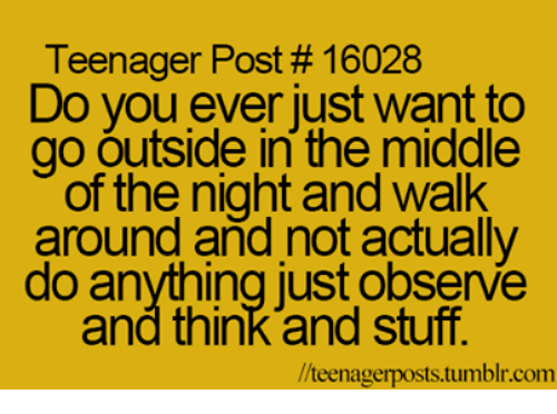 teenage post: Teenager Post 16028  Do you ever just want to  go outside in the middle  of the night and walk  around and not actually  do anything just observe  and think and stuff.  llteenagerposts tumblr com