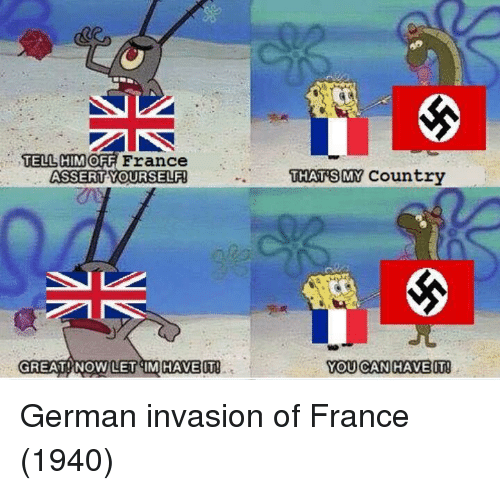 Smy: TELL HIM OFF  ASSERTYOURSELF  THAT SMY Country  GREAT !.NOWLETSIMİHAVEIT!  YOU CAN HAVE IT! German invasion of France (1940)