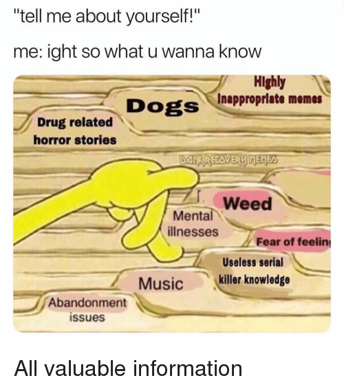 "Dogs, Memes, and Weed: tell me about yourself!""  me: ight so what u wanna know  Highly  Dogs Inupproprlate memes  Drug related  horror stories  DANKRECAVERLIMEMEA  . Weed  Mental  ilnesses e of fee  Useless serial  Musickiller knowledge  Abandonment  issues All valuable information"