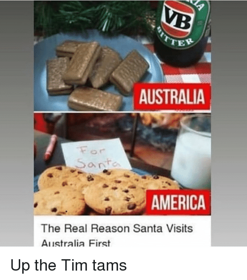America, Memes, and Australia: TER  AUSTRALIA  a nte  AMERICA  The Real Reason Santa Visits  Australia First Up the Tim tams