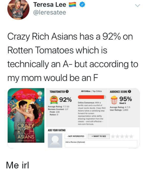 Rotten Tomatoes: Teresa Lee  @leresatee  Crazy Rich Asians has a 92% on  Rotten Tomatoes which is  technically an A- but according to  my mom would be an F  TOMATOMETER  All Critics   Top Critics  AUDIENCE SCORE O  92% сп  Critics Consensus: With a  terrific cast and a surfet ot  visual razzle dazzle, Crazy Rich Average Rating 47  Asians takes  forward for screen  representation while defty  drawing inspiration from the  classic-and stil effective-  rom.com formula  uked it  Average Rating 7.7/10  a satistying step User Ratings:893  Rotten: 9  CRAZY  ADD YOUR RATING  ASIANS  NOT INTERESTED  WANT TO SEE  Add a Review Optional Me irl
