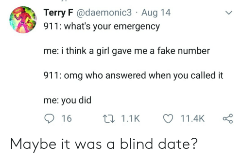You Called: Terry F @daemonic3 Aug 14  911: what's your emergency  me: i think a girl gave me a fake number  911: omg who answered when you called it  me: you did  16  11.1K  11.4K Maybe it was a blind date?