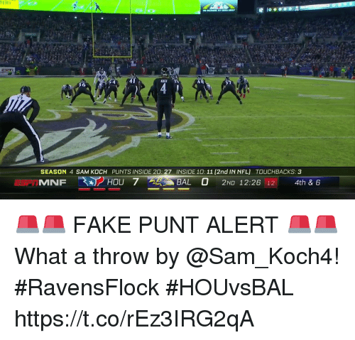 Fake, Memes, and Nfl: TERY  43  KOCH  SEASON 4 SAM KOCH PUNTS INSIDE 20: 27 INSIDE 10: 11 (2nd IN NFL) TOUCHBACKS: 3  BAL O 2ND 12:26 1 4th & 6 🚨🚨 FAKE PUNT ALERT 🚨🚨  What a throw by @Sam_Koch4! #RavensFlock #HOUvsBAL https://t.co/rEz3IRG2qA