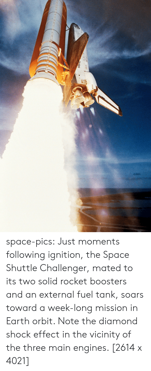 engines: tes space-pics:  Just moments following ignition, the Space Shuttle Challenger, mated to its two solid rocket boosters and an external fuel tank, soars toward a week-long mission in Earth orbit. Note the diamond shock effect in the vicinity of the three main engines. [2614 x 4021]