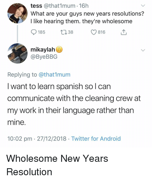New Year's Resolutions: tess @that1mum 16h  What are your guys new years resolutions?  I like hearing them. they're wholesome  185  13 38  С 816  mikaylah  @ByeBBG  Replying to @that1munm  I want to learn spanish so l can  communicate with the cleaning crew at  my work in their language rather than  mine  10:02 pm 27/12/2018 Twitter for Android Wholesome New Years Resolution