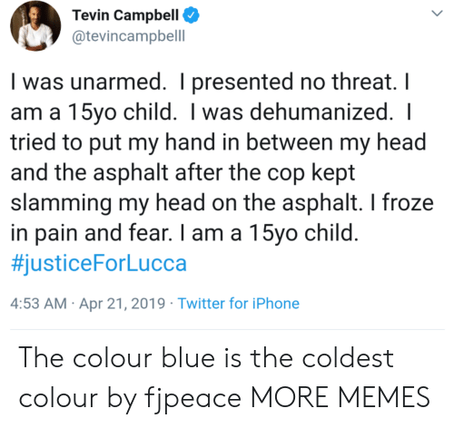 Dank, Head, and Iphone: Tevin Campbell  @tevincampbell  I was unarmed. I presented no threat. I  am a 15yo child. I was dehumanized.  tried to put my hand in between my head  and the asphalt after the cop kept  slamming my head on the asphalt. I froze  in pain and fear. I am a 15vo child  #justiceForLucca  4:53 AM Apr 21, 2019 Twitter for iPhone The colour blue is the coldest colour by fjpeace MORE MEMES
