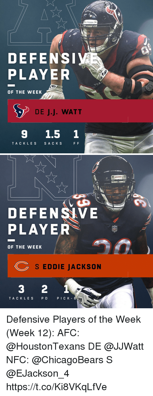 watt: TEXANS  DEFENS  PLAYER  OF THE WEEK  DE J.J. WATT  9 1.5 1  TA CKLES  SA C K S   BEARS  DEFENSIVE  PLAYER  OF THE WEEK  S EDDIE JACKSON  3 2 1  TACK LES  PD  PICK - 6 Defensive Players of the Week (Week 12):  AFC: @HoustonTexans DE @JJWatt  NFC: @ChicagoBears S @EJackson_4 https://t.co/Ki8VKqLfVe