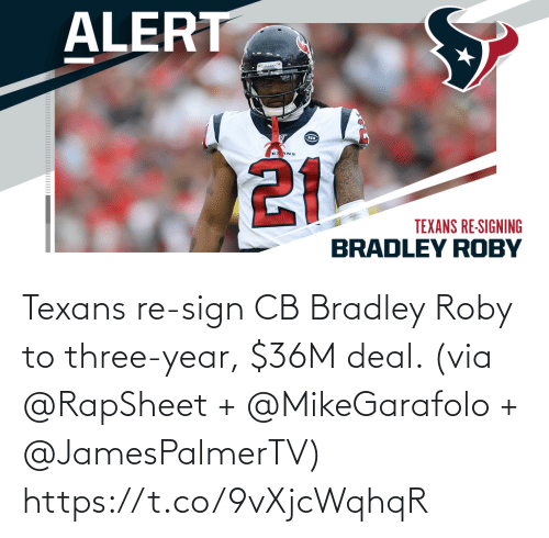 sign: Texans re-sign CB Bradley Roby to three-year, $36M deal. (via @RapSheet + @MikeGarafolo + @JamesPalmerTV) https://t.co/9vXjcWqhqR