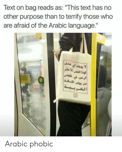 "Text, Arabic (Language), and Who: Text on bag reads as: ""This text has no  other purpose than to terrify those who  are afraid of the Arabic language."" Arabic phobic"