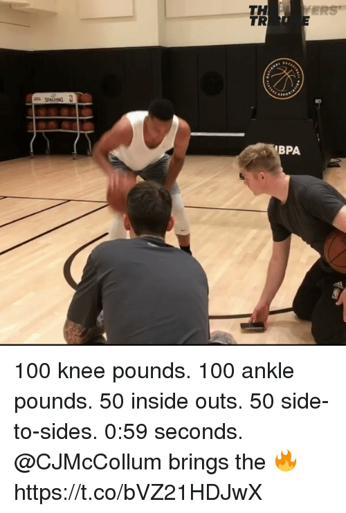 spalding: TH  TR  ERS  SPALDING  BPA 100 knee pounds. 100 ankle pounds. 50 inside outs. 50 side-to-sides. 0:59 seconds.  @CJMcCollum brings the 🔥 https://t.co/bVZ21HDJwX