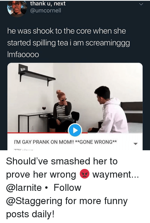 Funny, Prank, and Im Gay: thank u, next  @umcornell  he was shook to the core when she  started spilling tea i am screaminggg  Imfaoooo  I'M GAY PRANK ON MOM!! **GONE WRONG* Should've smashed her to prove her wrong 😡 wayment... @larnite • ➫➫➫ Follow @Staggering for more funny posts daily!