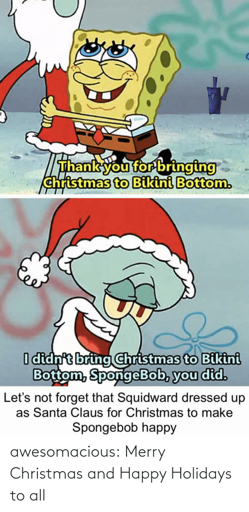 Dressed Up: Thank you for bringing  christmas to Bikini Bottom.  I didn't bring Christmas to Bikini  Bottom, SpongeBob, you did.  forget that Squidward dressed up  as Santa Claus for Christmas to make  Let's  Spongebob happy awesomacious:  Merry Christmas and Happy Holidays to all