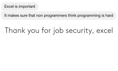 thank: Thank you for job security, excel
