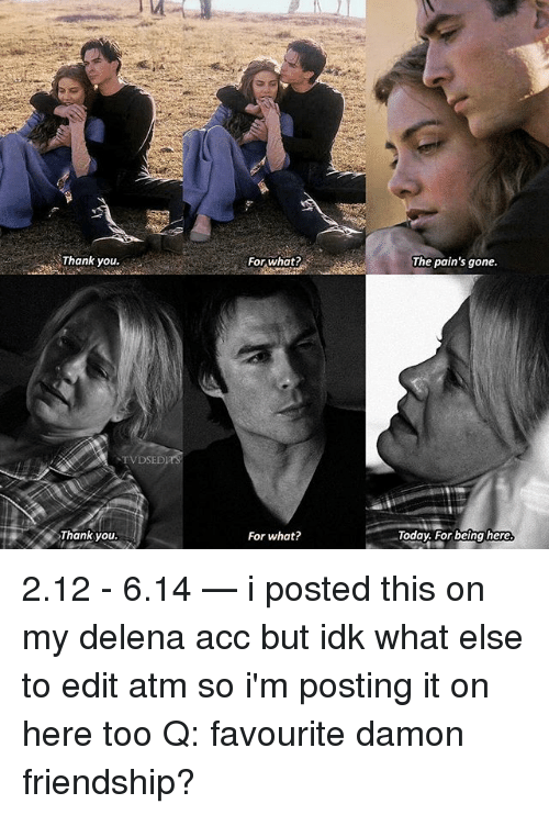 ♂: Thank you.  For what?  The pain's gone.  TVDSED  Thank you.  For what?  oday. For being here 2.12 - 6.14 — i posted this on my delena acc but idk what else to edit atm so i'm posting it on here too Q: favourite damon friendship?