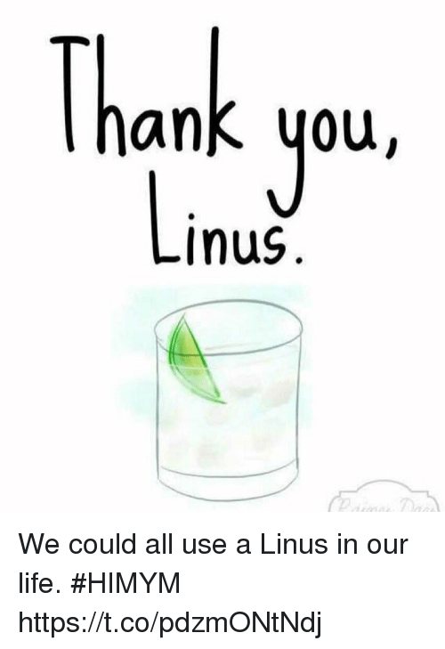 linus: Thank you  Inus We could all use a Linus in our life. #HIMYM https://t.co/pdzmONtNdj