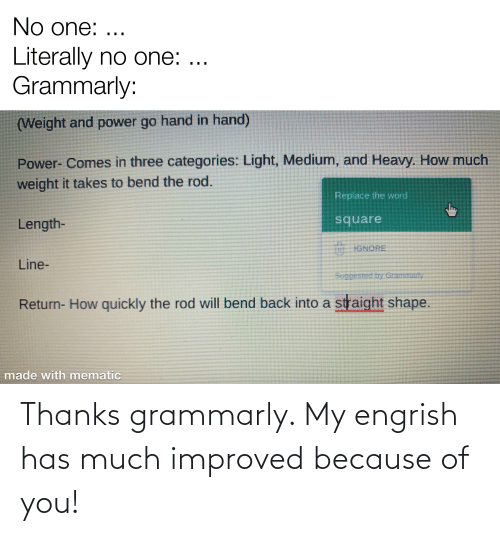 Because of You: Thanks grammarly. My engrish has much improved because of you!