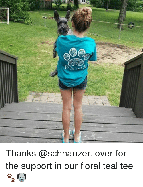 Memes, Schnauzer, and 🤖: Thanks @schnauzer.lover for the support in our floral teal tee 🐾🐶