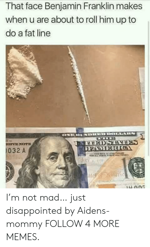 Benjamin Franklin: That face Benjamin Franklin makes  when u are about to roll him up to  do a fat line  DOLLARN  ONEBS  BNEDSTYNES  OFAMER IUA  RVENOTE  032 A  Jicy I'm not mad… just disappointed by Aidens-mommy FOLLOW 4 MORE MEMES.