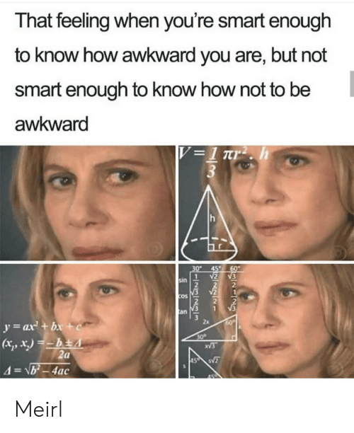 cos: That feeling when you're smart enough  to know how awkward you are, but not  smart enough to know how not to be  awkward  V =1 rr2 . h  3  30  45  60  2  1  sin  V2  COS  V3  an  y=ax + bx +c  60  30  XV3  2a  45 S  4=\b-4ac Meirl