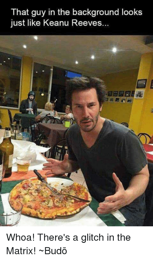 keanu reeve: That guy in the background looks  just like Keanu Reeves. Whoa! There's a glitch in the Matrix! ~Budō