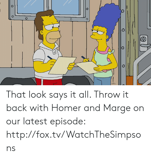 Throw It Back: That look says it all. Throw it back with Homer and Marge on our latest episode: http://fox.tv/WatchTheSimpsons