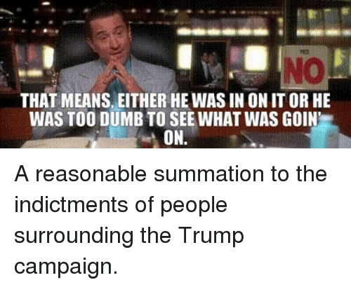 Dumb, Politics, and Trump: THAT MEANS, EITHER HE WAS IN ON IT OR HE  WAS TOO DUMB TO SEE WHAT WAS GOIN  ON