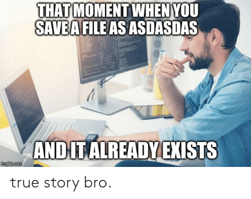 File: THAT MOMENT WHEN YOU  SAVEA FILE AS ASDASDAS  AND IT ALREADY EXISTS  imgfip.com true story bro.