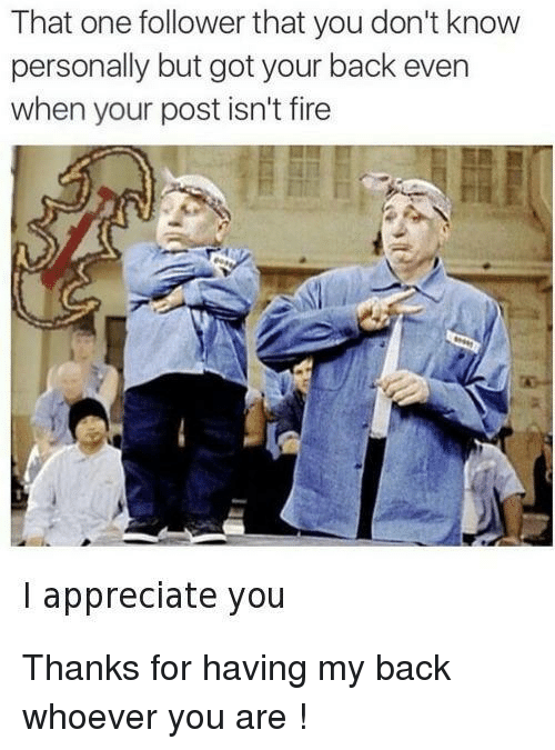 Fire, Appreciate, and Back: That one follower that you don't know  personally but got your back even  when your post isn't fire  I appreciate you Thanks for having my back whoever you are !