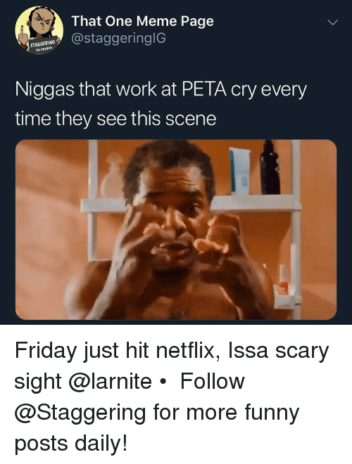 Friday, Funny, and Meme: That One Meme Page  staggering!G  ST  AGGERİ.  Niggas that work at PETA cry every  time they see this scene Friday just hit netflix, Issa scary sight @larnite • ➫➫➫ Follow @Staggering for more funny posts daily!
