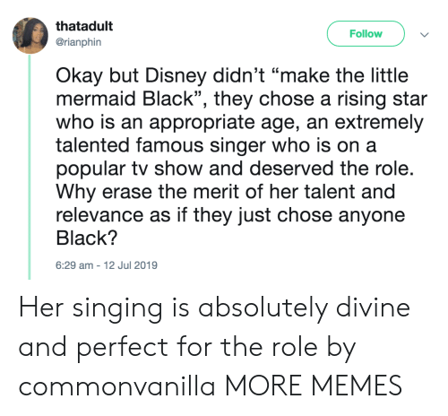 "Erase: thatadult  Follow  @rianphin  Okay but Disney didn't ""make the little  mermaid Black"", they chose a rising star  who is an appropriate age, an extremely  talented famous singer who is on a  popular tv show and deserved the role.  Why erase the merit of her talent and  relevance as if they just chose anyone  Black?  6:29 am-12 Jul 2019 Her singing is absolutely divine and perfect for the role by commonvanilla MORE MEMES"