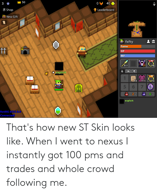 Instantly: That's how new ST Skin looks like. When I went to nexus I instantly got 100 pms and trades and whole crowd following me.