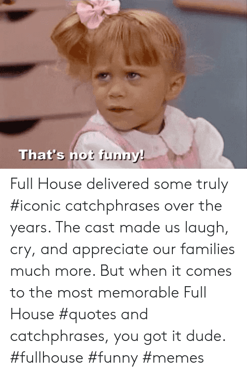 Full House: That's not funn Full House delivered some truly #iconic catchphrases over the years. The cast made us laugh, cry, and appreciate our families much more. But when it comes to the most memorable Full House #quotes and catchphrases, you got it dude. #fullhouse #funny #memes