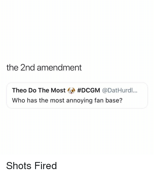 2nd Amendment: the 2nd amendment  Theo Do The Most @ #DCGM @DatHurdl..  Who has the most annoying fan base? Shots Fired