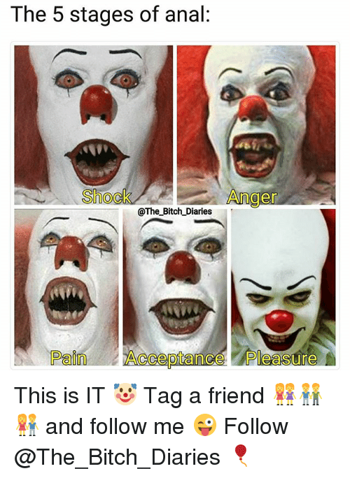 Anals: The 5 stages of anal:  Shock  Anger  @The_Bitch Diaries  Pain Acceptance Pleasure This is IT 🤡 Tag a friend 👭👬👫 and follow me 😜 Follow @The_Bitch_Diaries 🎈