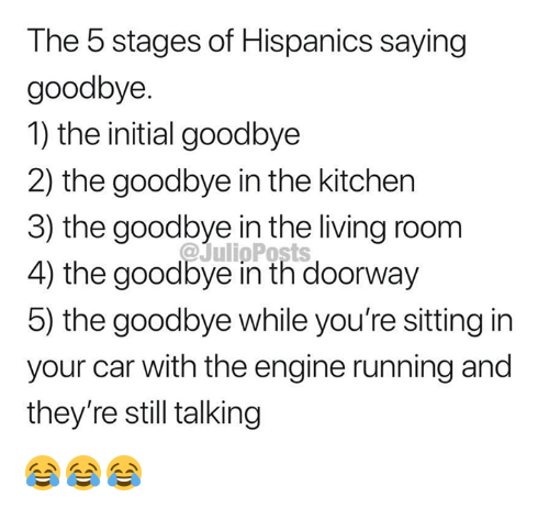 Memes, Living, and Running: The 5 stages of Hispanics saying  goodbye  1) the initial goodbye  2) the goodbye in the kitchen  3) the goodbye in the living room  4) the goodbye in th doorway  5) the goodbye while you're sitting in  your car with the engine running and  they're still talking 😂😂😂